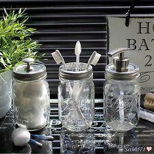 Palla Mason Jar VINTAGE GLASS SET ACCESSORI BAGNO CON TOP nichel-UK Venditore