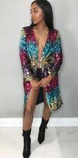 Women Party Sequins Bling Long Sleeve Coat Knee Length Jacket Tops Club Cardigan