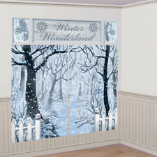 Giant 5 Piece Winter Wonderland Scene Setter - Christmas Party Wall Decorations