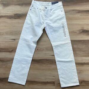 American Eagle Slim Straight Leg Mens / Boys White Wash Jeans 26 x 28 NWT