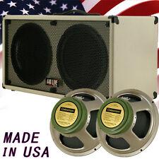 2x12 Guitar Spker Cabinet Blonde white Tolex W/Celestion Green Back speakers