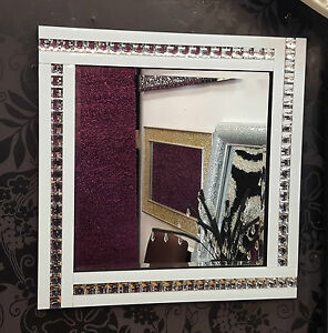 NEW Modern Art Deco Acrylic Crystal Glass Design Bevelled Mirror 60x60cm White