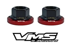 6 VMS RACING STRUT TOWER DRESS UP RED WASHERS & BLACK FLANGE NUTS FOR MITSUBISHI