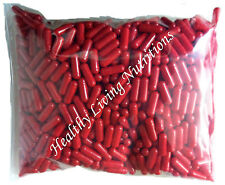500 EMPTY gel GELATIN CAPSULES ~SIZE 0 ~ Colored Red (Kosher)