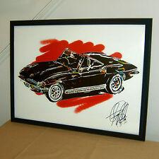 1964 Chevrolet Corvette Convertible Chevy Car Racing Poster Print Wall Art 18x24