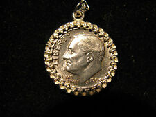 1953 90% Silver Roosevelt Dime Pendant / Necklace & Free Silver Plated Chain