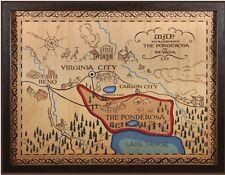 """PONDEROSA MAP POSTER. LARGE **24X31**.  BONANZA. GLOSSY FINISH. """"BEAUTIFUL"""""""