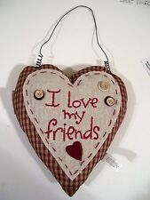 I LOVE MY FRIENDS HEART MINI PILLOW VALENTINES CHRISTMAS ORNAMENTS DECORATION