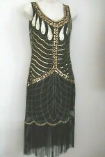 1920'S GATSBY VINTAGE CHARLESTON SEQUIN TASSEL FLAPPER DRESS  S-M