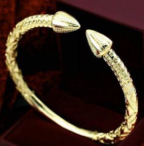 """9K 9ct Yellow & Rose """"Gold Filled""""Men Ladies Torque Bangle Bracelet.57,60,,65mm"""