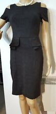 KAREN MILLEN WIGGLE OFF SHOULDER DRESS SIZE UK 8 US 4 APPROXIMATELY BROWN BLACK