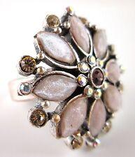 £30 Art Deco Silver Pink Brown Flower Adjustable Ring Swarovski Elements Crystal