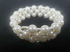 Faux Pearl and Crystal Wrap-Around Bracelet - Suitable for wrists up to 2,5 in W