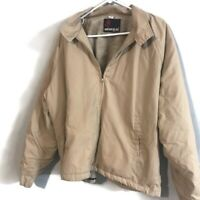 Vintage American Jac Made In USA Beige/Tan Fur Lined Zip Up Jacket Size Men's 2X