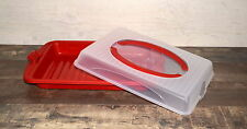 Plastic Large Cupcake Cake Box Storage Carrier Container RED ! Lockable Lid