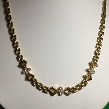 "Pretty Vintage 18"" Rhinestone Goldtone Chainlink Necklace Nice Looking"