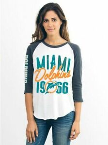 Miami Dolphins NFL Junk Food Raglan Baseball Tee Women's T-Shirt LARGE