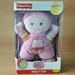 Fisher Price Baby's 1st Doll Pink Soft Cudly Blue Eyed Rattle Shake with Box