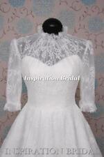 Lace 3/4 Sleeve Short Choker Neck Wedding Dresses