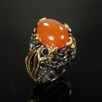 Natural Carnelian 925 Sterling Silver Ring Size 7.5/RR17-2046