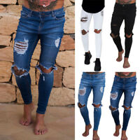 Mens Ripped Skinny Slim Fit Biker Jeans Trousers Destroyed Stretch Denim Pants