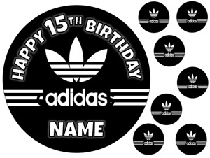 """ADIDAS INSPIRED 6"""" / A3 PERSONALISED EDIBLE ICING CAKE TOPPER"""