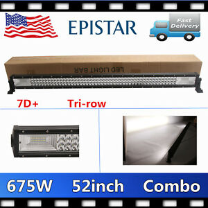 675W 52inch LED Combo Light Bar Tri row 7D+ Car Lighting Ford Roof Boat Chevy PK