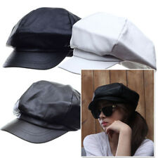 New_7828 Men Women Faux leather Newsboy Flat Cap Baker boy Cabbie Gatsby Hat