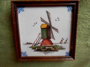 DELFT Tile Dutch Colonial DE PORCELEYNE FLES Hand Painted, Framed