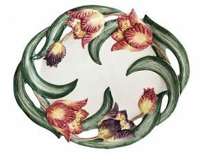 "Fitz & Floyd 16"" Oval Serving Platter Hand Painted Tulip Swan Pattern"
