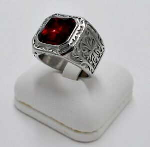 MEN RING RUBY STAINLESS STEEL SILVER SQUARE CROSS POPE BISHOP SOLITAIRE SIZE 8