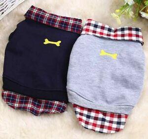 Pet Clothes Dog Warm Sweater Vest Plaid Shirt Coat Puppy Sweatshirt Jacket