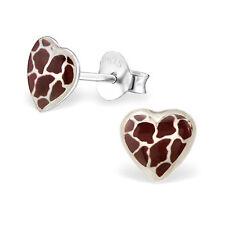Childrens Girls Sterling Silver giraffe print heart Stud Earrings 925 gift
