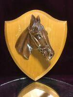 VTG. Wood Hand Carved Solid Sculpture Bust Of A Horse Wall Hanging Equestrian#2