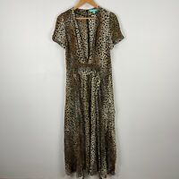 Melissa Odabash Womens Maxi Dress M Multicoloured Leopard Print Short Sleeve