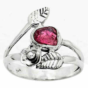 Floral - Natural Pink Tourmaline Rough 925 Sterling Silver Ring s.8 Jewelry E271