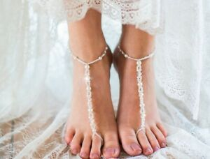 A Pair Ankle Foot Jewelry Pearl Elastic Chain Anklet Toe Ring Link Beach AF