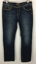 """Cowgirl Up Jeans Embroidered Pockets Rose Buttons CGJ30702 Size 32/34 Actual 33"""""""