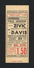 RARE 1941 full boxing ticket FRITZIE ZIVIC vs AL BUMMY DAVIS SUGAR RAY ROBINSON