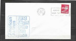 1975 American Airlines First Jet Flight Air Mail Cover, San Jose - Dallas