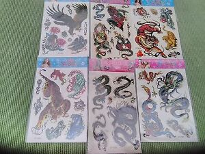 TEMPORARY TATTOOS - DRAGONS, TIGERS, SNAKES ETC - 12 SHEETS