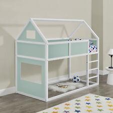 [en.casa] Hochbett 90x200cm Kinderbett mit Leiter Holz Hausbett Kinder Mintgrün
