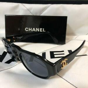 Auth Vintage CHANEL CC Plastic Sunglasses Women Black/Gold Used from Japan F/S