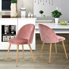 Set of 2 Dining Chairs Soft Velvet Seat Wooden Look Metal Legs Modern Rose Pink