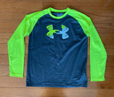 Under Armour Boys HeatGear Shirt Long Sleeve Gray Neon Loose Fit Youth Large YLG