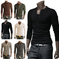 Men's Fashion Loose Slim Fit Cotton V-Neck Long Sleeve Casual T-Shirt Top Blouse