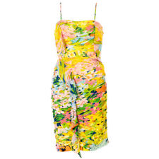 BOUTIQUE MOSCHINO Dress Yellow Multi-Coloured Floral RRP £589 BG