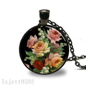 10PCS Flowers Charm Glass Dome Cabochon Black Chain Necklace Pendant Jewelry