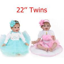 22' Handmad Twins Reborn Baby Dolls Newborn Babies Vinyl Silicone Doll Xmas Toy