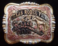 Texas Rodeo Fair Champion Trophy Buckle German Silver-Silver & 24K Gold Plated